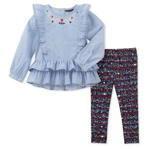 Tommy Hilfiger Matching Sets - Tommy Hilfiger Blue Ruffle-Hem Top Script Leggings